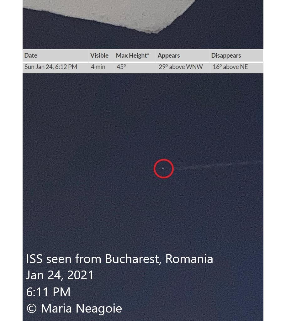 ISS flies above Bucharest